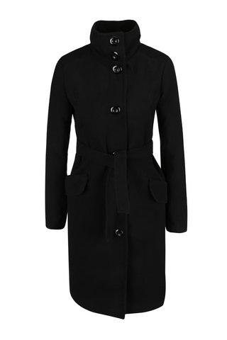 Palton negru cu amestec de lana si guler inalt -  Madonna