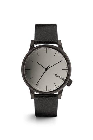 Černé unisex hodinky s koženým páskem Komono Winston Mirror