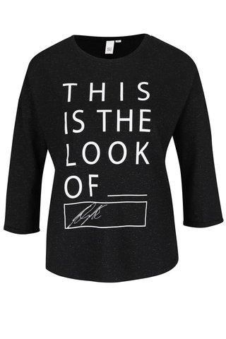 Tricou negru melanj cu print QS by s.Oliver