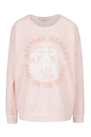 Bluza roz pal Scotch & Soda cu imprimeu si aplicatii