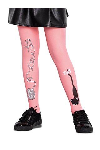Ciorapi roz Penti Cat ball 50 DEN cu model pentru fete