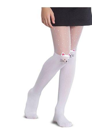 Ciorapi alb & roz Penti Muhur 30 DEN cu model