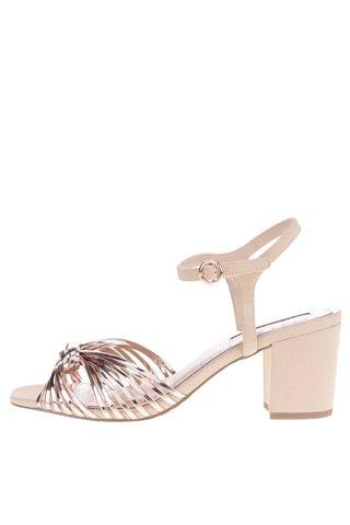 Starorůžové metalické sandálky na podpatku Miss KG