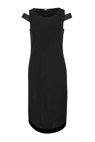 Černé šaty s pásky na ramenou KARL LAGERFELD