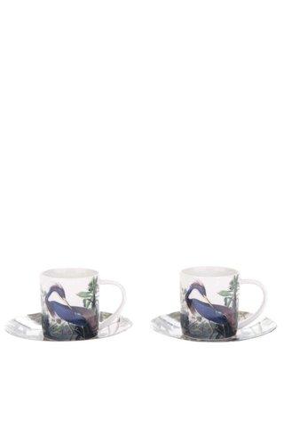 Zeleno-krémový set dvou espresso hrníčků s podšálky Magpie Birds