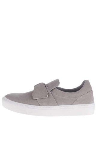 Pantofi slip-on gri cu funda din piele intoarsa Tamaris