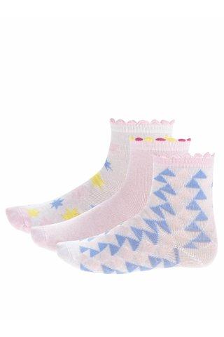 Sada tří párů holčičích ponožek v bílé a růžové barvě 5.10.15.