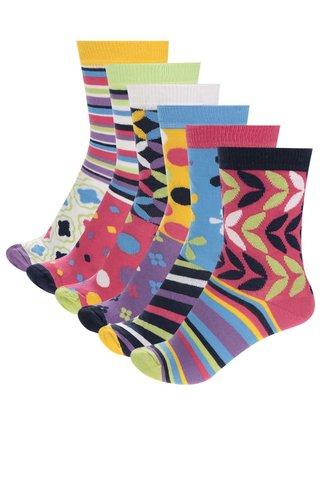 Sada šesti dámských vzorovaných ponožek v fialové a černé barvě Oddsocks Kandy