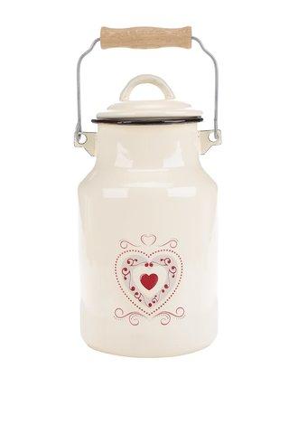 Béžová konvice na mléko s motivem srdce Dakls