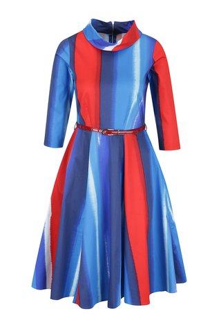 Rochie albastru&rosu Closet cu maneci 3/4 si curea