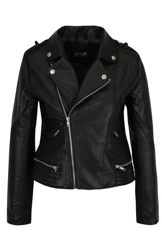 Jacheta biker neagra din piele ecologica - Haily's Sonja