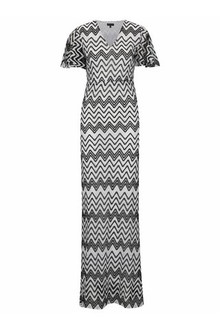 Rochie maxi alb & negru Mela London cu model
