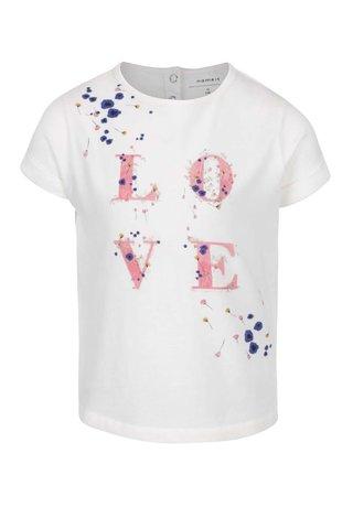 Tricou crem name it Tisla din bumbac cu print pentru fete