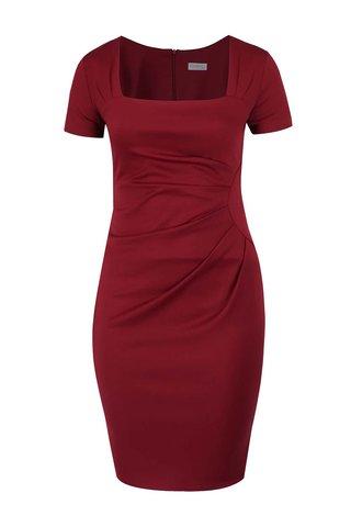 Vínové plus size pouzdrové šaty s tvarovaným výstřihem Goddiva