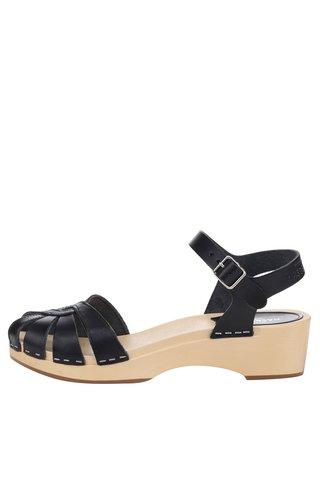 Sandale sabot negre din piele Swedish Hasbeens Cross Strap Debutant