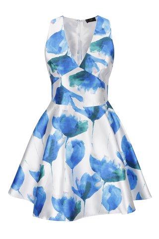 Rochie crem&albastru Ax Paris cu imprimeu floral