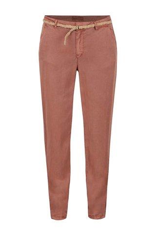 Pantaloni straight caramizii cu curea VERO MODA Zoe