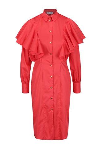 Rochie bodycon rosie cu volane ample - Closet