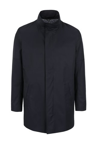 Jacheta lunga albastru inchis Bertoni Allinge cu guler inalt