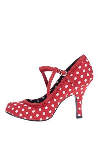 Pantofi cu toc rosii Ruby Shoo Jessica cu model cu buline