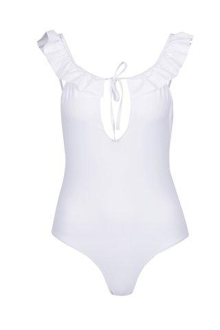 Costum de baie intreg alb VERO MODA Lauren cu volane