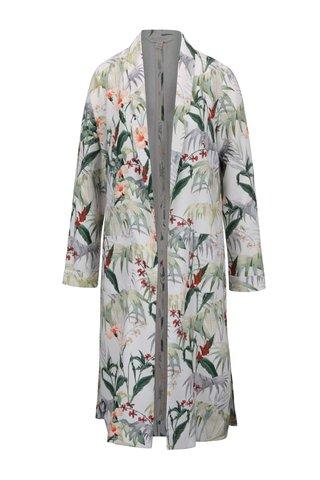 Jacheta subtire lunga crem Miss Selfridge cu model floral