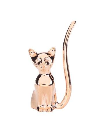 Suport pentru inele auriu CGB in forma de pisica