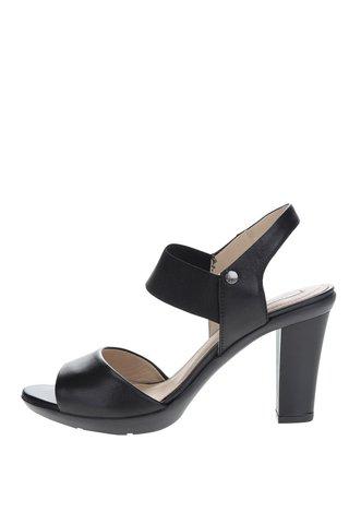 Černé kožené sandálky na vysokém podpatku Geox Jadalis