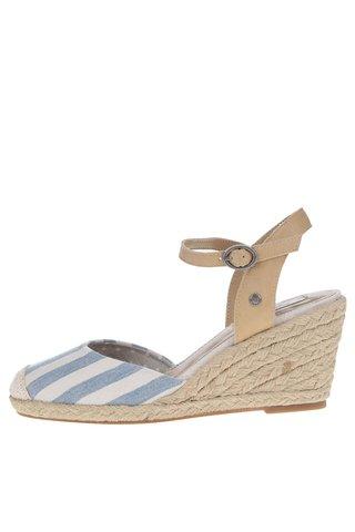 Sandale wedges albastru&crem in dungi Pepe Jeans Kinney