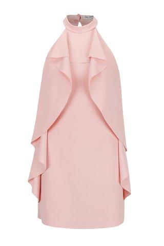 Rochie halter roz pal Miss Selfridge cu volane laterale ample