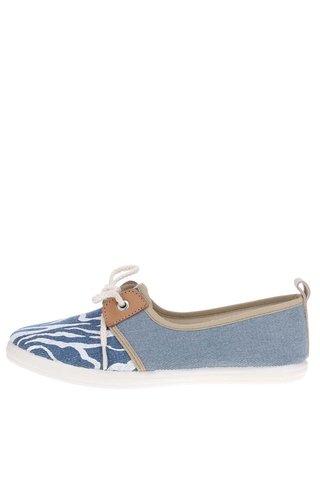 Pantofi slip on albastri cu print OJJU