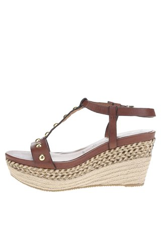 Sandale wedges maro cu tinte din piele Tamaris