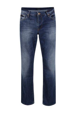 Blugi albastri Cross Jeans Antonio cu aspect prespalat si croi drept
