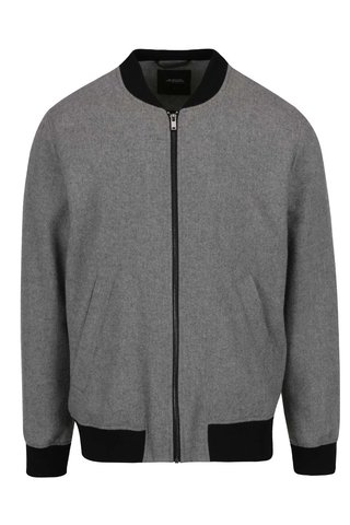 Jacheta bomber gri din amestec de lana Burton Menswear London