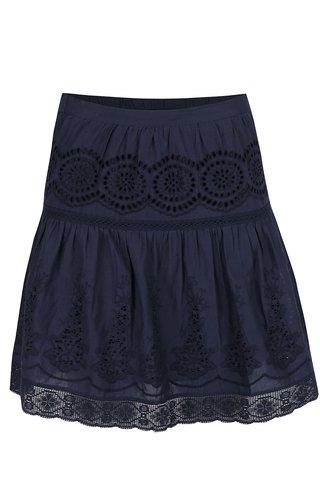Tmavě modrá sukně s pružným pasem a madeirou VILA Emilia