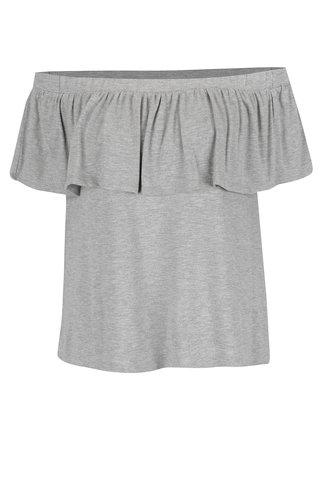 Šedé tričko s odhalenými rameny a volánem VILA Foma