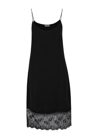 Černé volné šaty s krajkovým lemem VILA Straplace