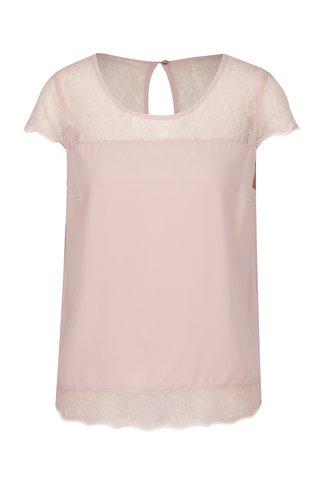 Tricou roz pal ONLY Lin cu insertii din dantela