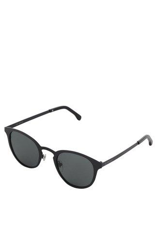 Černé unisex sluneční brýle s kovovým rámem Komono Hollis