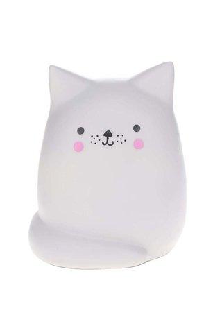 Světle šedá velká lampa ve tvaru kočky Disaster Cat