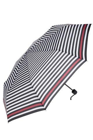 Krémovo-černý pruhovaný deštník s červeným pruhem Derby