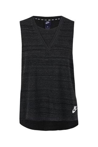Černé dámské tílko s prodlouženým střihem Nike