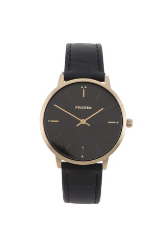Dámské pozlacené hodinky s koženým páskem Pilgrim