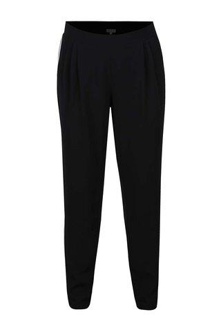 Pantaloni negri Gina Laura cu dungi albe pe laterale