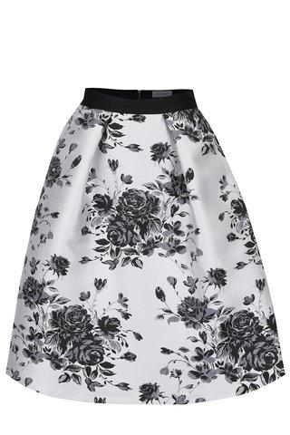 Fusta midi crem&negru Closet cu imprimeu floral
