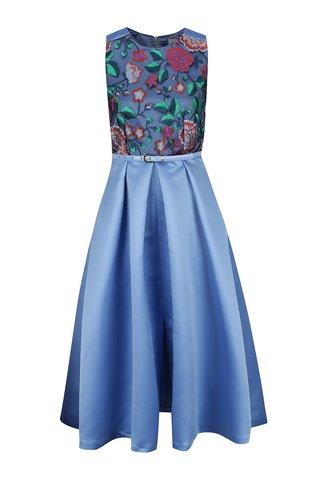 Rochie albastra Closet cu broderie florala
