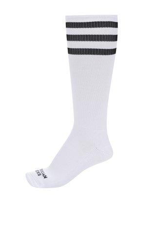 Sosete unisex albe cu dungi negre - American Socks