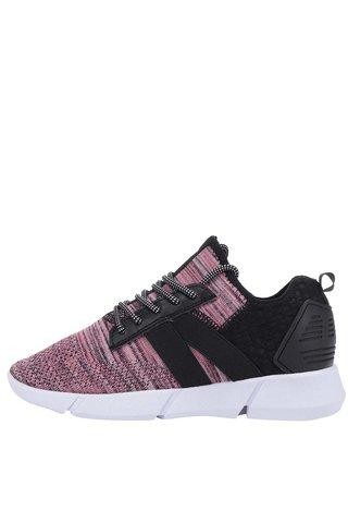 Pantofi sport roz&negru cu model cu perforatii Tamaris