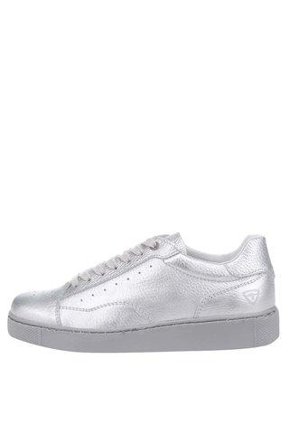 Pantofi sport argintii din piele Tamaris