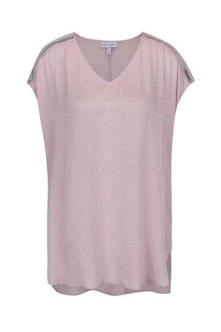 Tricou roz prafuit Gina Laura cu aplicatii pe umeri